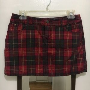 Plaid Tartan Corduroy Mini Skirt